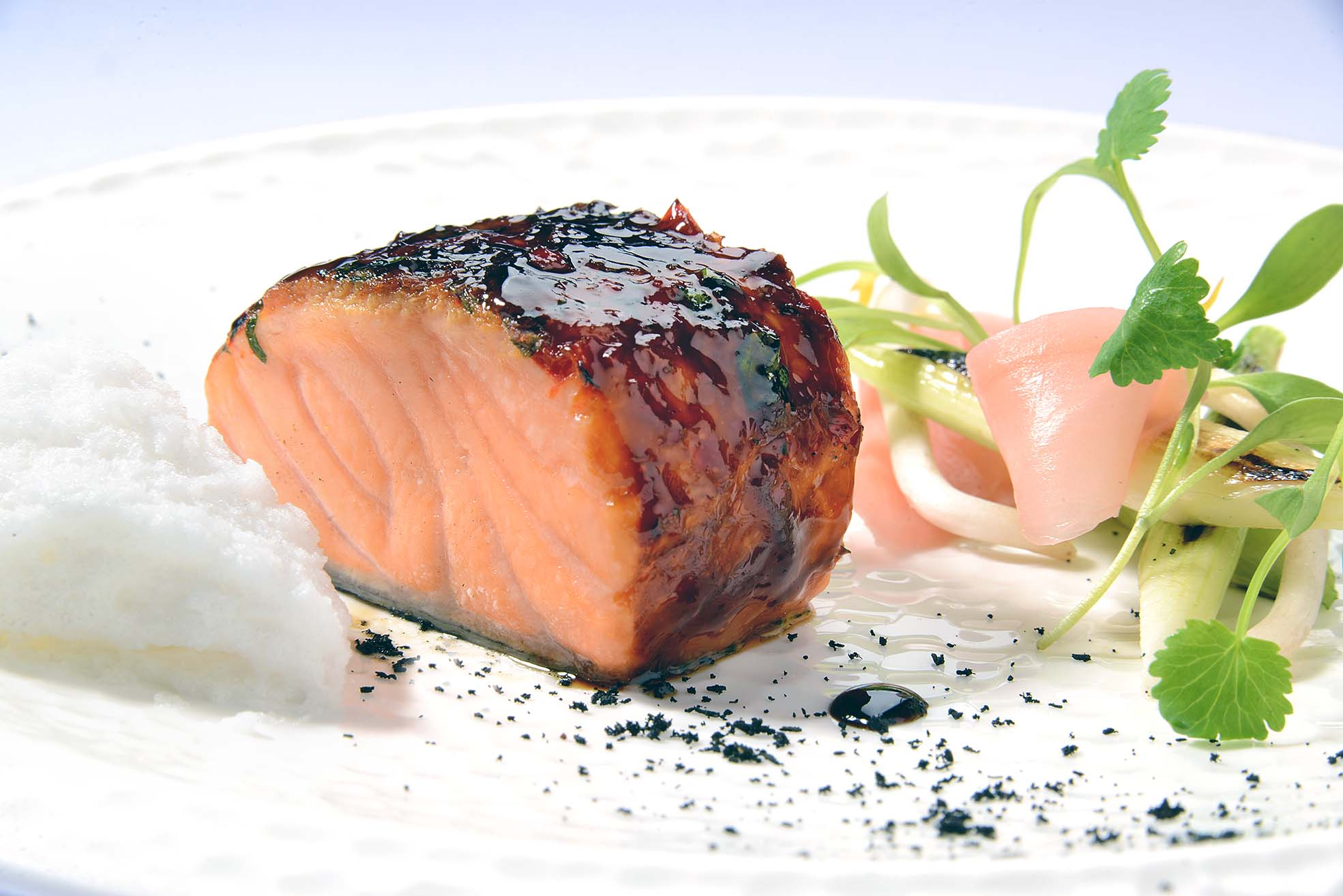 002 NC MENU(151015) Just Cooked Treacle Salmon, Pickled Ginger, Coriander, Lime & Ginger Marshmallow
