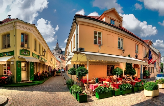 Image result for Cafes in Stikliu Street in the Lithuanian capital, Vilnius