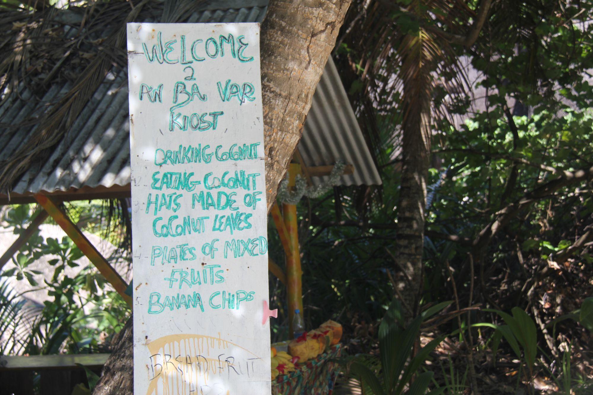 Seychelles beach sign