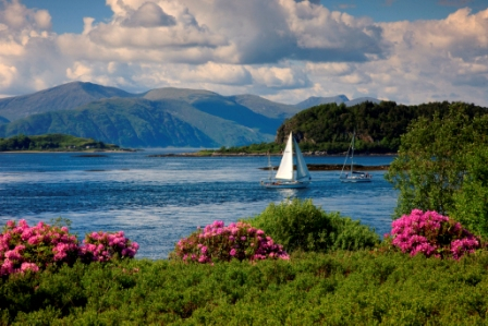 YACHTS PASS ERISKA  WITH LISMORE AND MORVEN HILLS IN VIEW