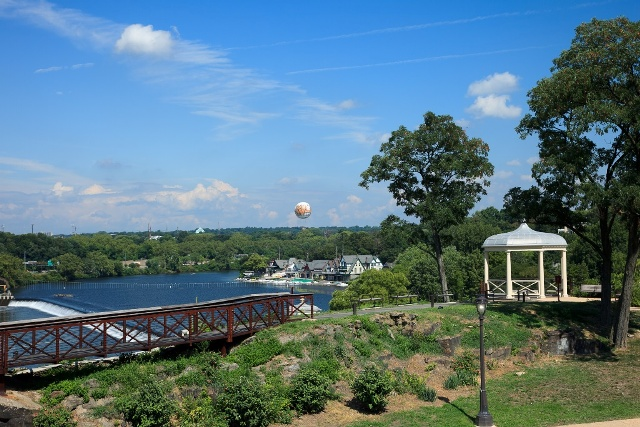 Philadelphia - A view of Boathouse Row in Fairmount Park