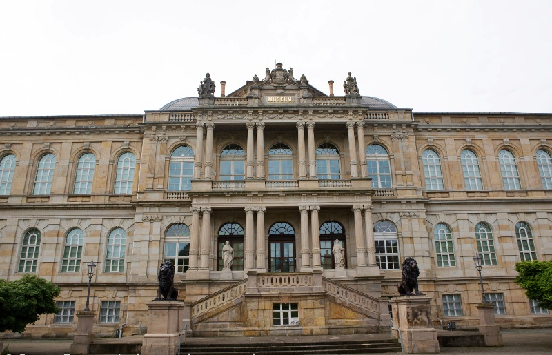 Facade of the Ducal Museum in Gotha, Germany. The 19th-century, Neo-Classical building contains a collection encompassing art, curiosities and Egyptology.