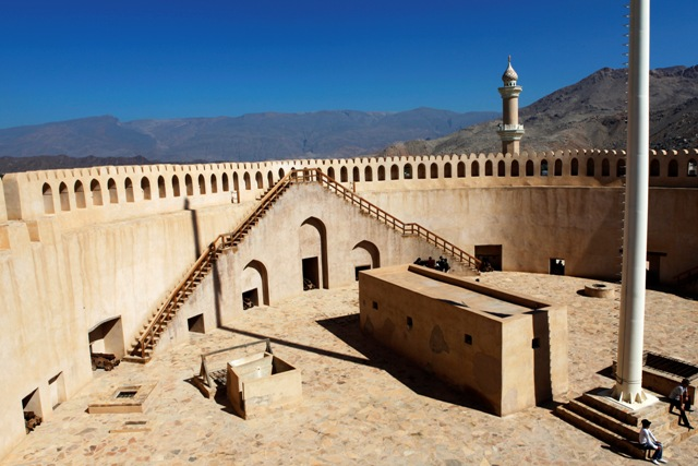 The gunnery platform in Nizwa Fort in Oman. The citadel was constructed from 1649 to 1661 under Imam Sultan Bin Saif Al Ya'rubi and offers 23 cannon the opportunity to cover a 360 degree arc of fire.
